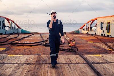 Deck Officer on deck of offshore vessel or ship