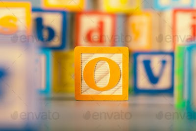 Photograph of colorful Wooden Block Letter O