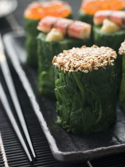 Rolled Spinach Three Ways-Snow Crab Toasted Sesame Seeds and salmon Roe