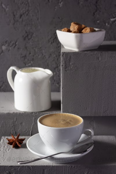 Cup of coffee on concrete grey abstract background texture. Set of coffee and  food ingredient