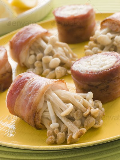 Enoki Mushrooms wrapped in Smoked Bacon