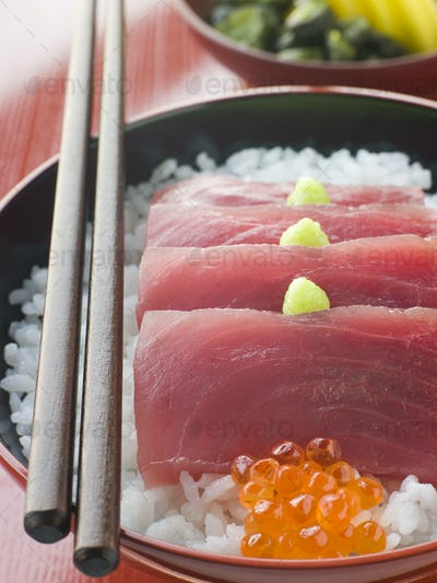 Sashimi of Yellow Fin Tuna on Rice with Salmon Roe Pickles and Wasabi