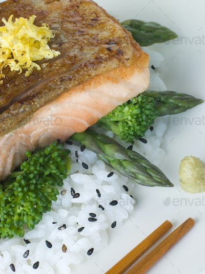 Citrus Salmon Fillet on Rice Steamed Vegetables with Sesame and Wasabi