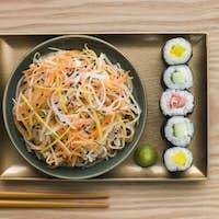 Daikon and Carrot Salad with Sesame Sushi and Wasabi