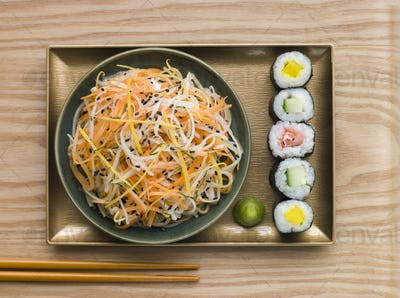 Daikon and Carrot Salad with Sesame Sushi and Wasabi