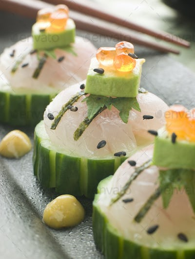 Sashimi Of Sea bass with Avocado and Salmon Roe