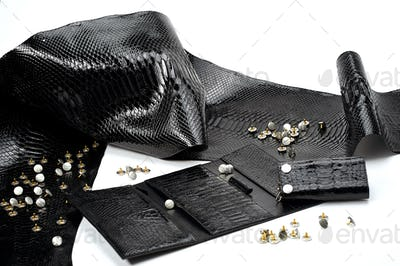 Black glancy pieces of leather look like reptile skin