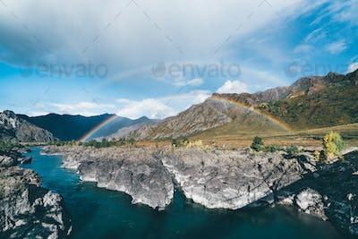 Double rainbow in Altai mountains