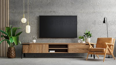 Living room interior have tv cabinet and leather armchair in cement room.