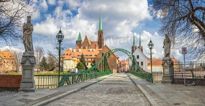 Tumski Bridge (Most Tumski) in Wroclaw, Poland