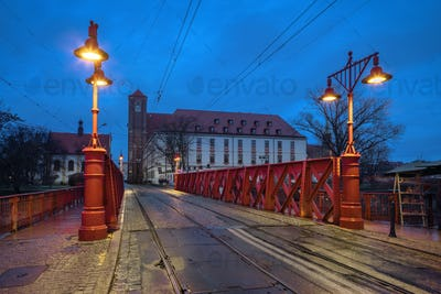 Wroclaw, Poland. View of Sand Bridge (Most Piaskowy) at dusk