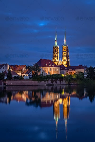 Cathedral reflecting in Oder river, Wroclaw, Poland