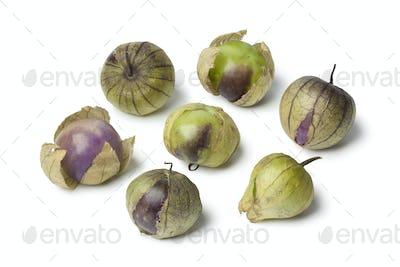 Fresh purple and green tomatillos