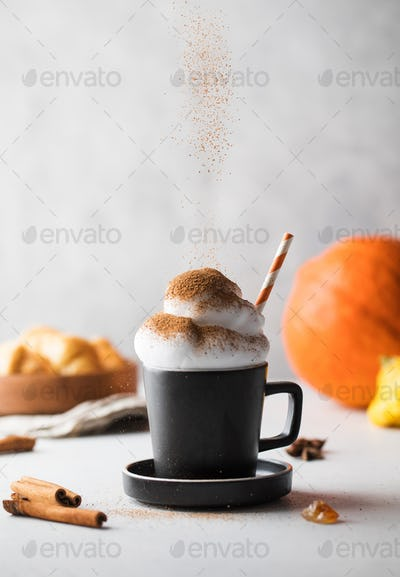 Spicy pumpkin latte with whipped cream and cinnamon. Autumn drinks.