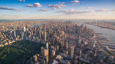 Aerial View of New York City Manhattan Skyline Skyscrapers, NY, USA