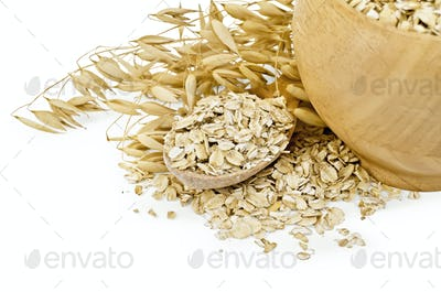Oat flakes in a bowl and spoon