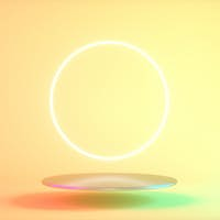 Futuristic neon light product background stage or podium pedestal. 3d render