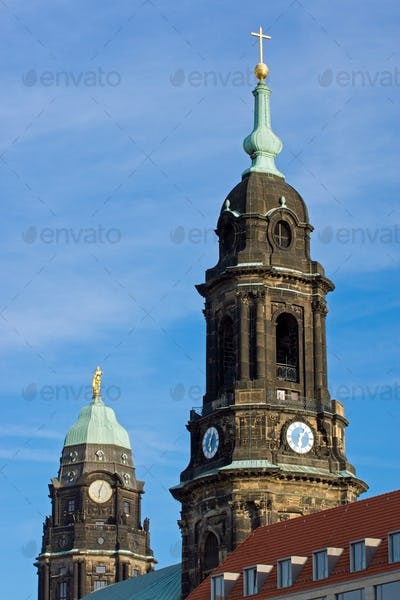 Towers of Kreuzkirche and Townhall
