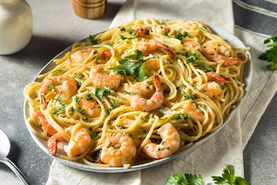 Homemade Cooked Shrimp Scampi with Pasta