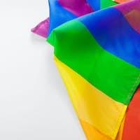 Rainbow gay flag on white background close up