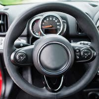 Steering wheel of city car. Small car for cities.