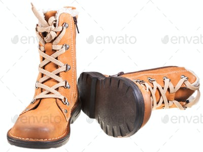 new brown leather outdoor boots