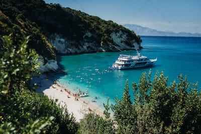 View of the beautiful Xigia beach. beach on the island of Zakynthos. Greece