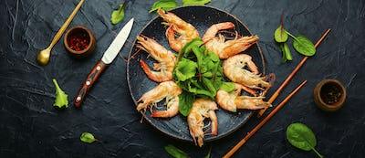 Boiled tasty shrimp on a plate