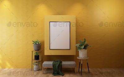 3D Mockup photo frame in Modern interior of living room