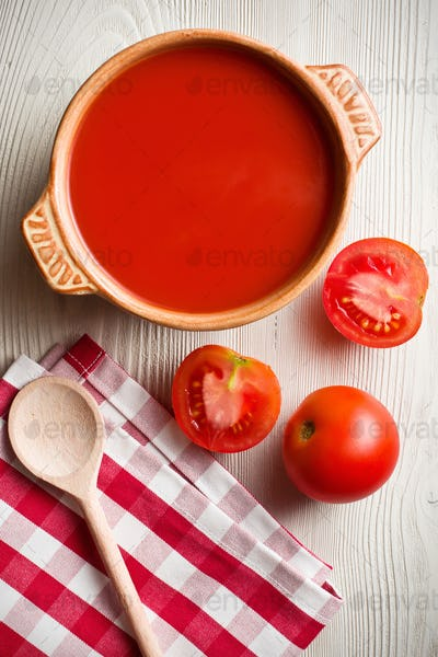 tomato soup on kitchen table