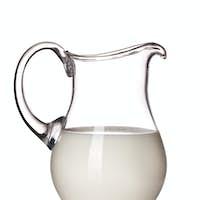 milk in a glass pitcher