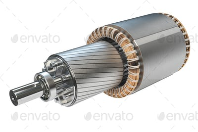 Rotor and stator of electric motor isolated on white background.