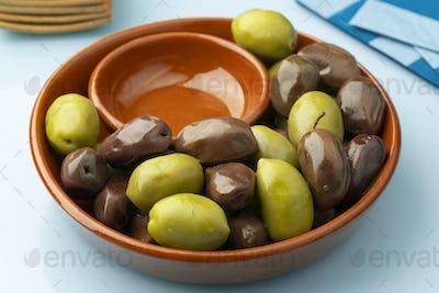 Bowl with Greek green and Kalamata olives