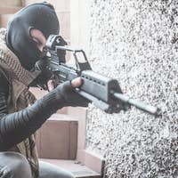 Sniper soldier shooting
