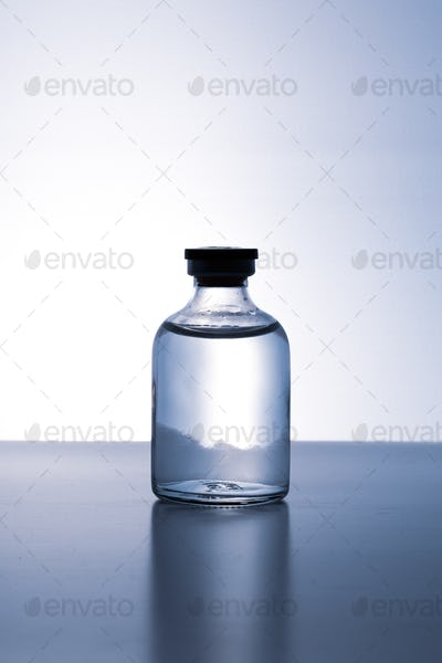 Bottle with solution for injection