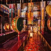 Inside Spituk Gompa Tibetan Buddhist monastery. Ladakh, India