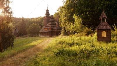 Wooden brown church and nearly overgrown path.