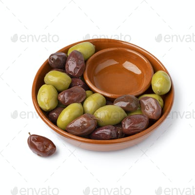 Bowl with Greek green and Kalamata olives on white background