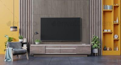 Modern living room interior armchair ,TV on cabinet in modern living room