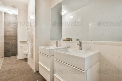 Interior of minimalist style restroom