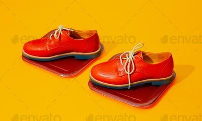 Stylish vintage shoes in isometric space. Fashion  concept