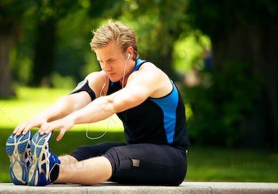 Athlete Doing Stretching Exercise