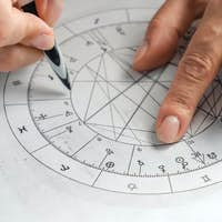 Astrology. Astrologer calculates a natal chart and makes a forecast of fate
