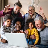Portrait of a happy multigenerational multiethnic family at home