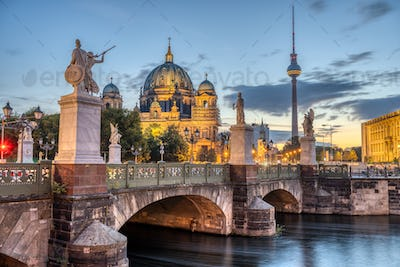 The Cathedral, the TV Tower and the Schlossbruecke in Berlin