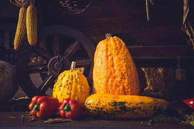 Still life. Autumn harvest. Vintage cart full with freshly picked vegetables