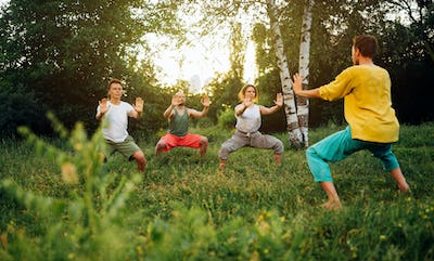Trainer explains how to do horse stance exercise. Group learning qigong in nature.