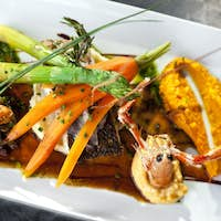 Appetizing tasty dish on a white plate