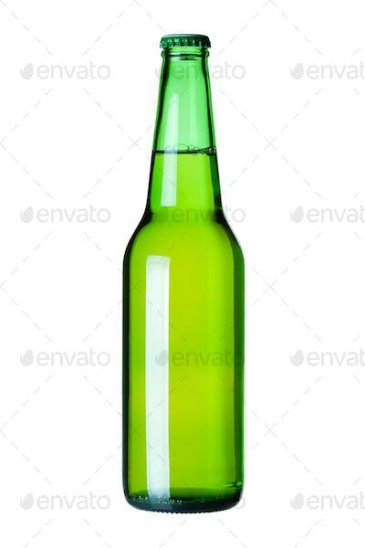 Lager beer in green bottle