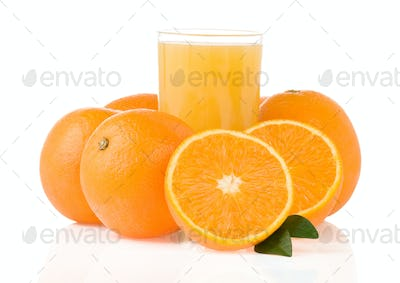 juice and orange fruit on white